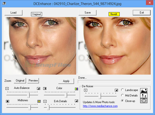 screen capture of Digital Camera Enhancer