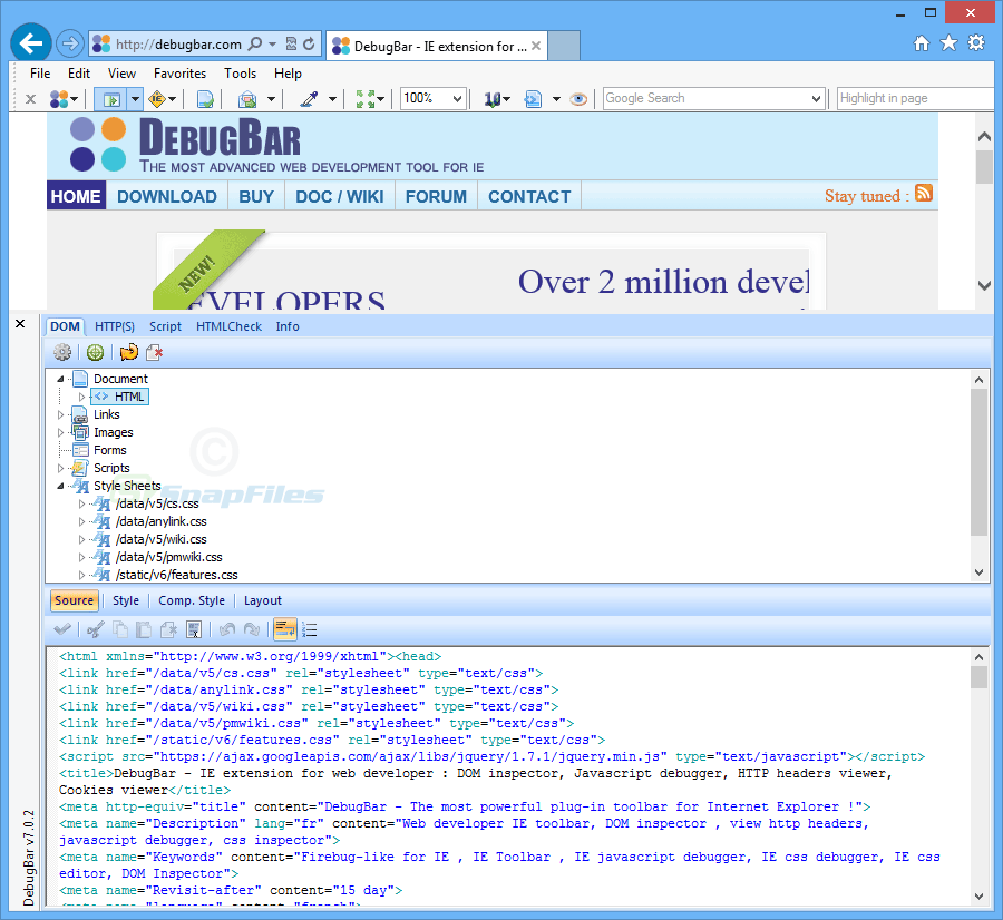 screenshot of Debugbar