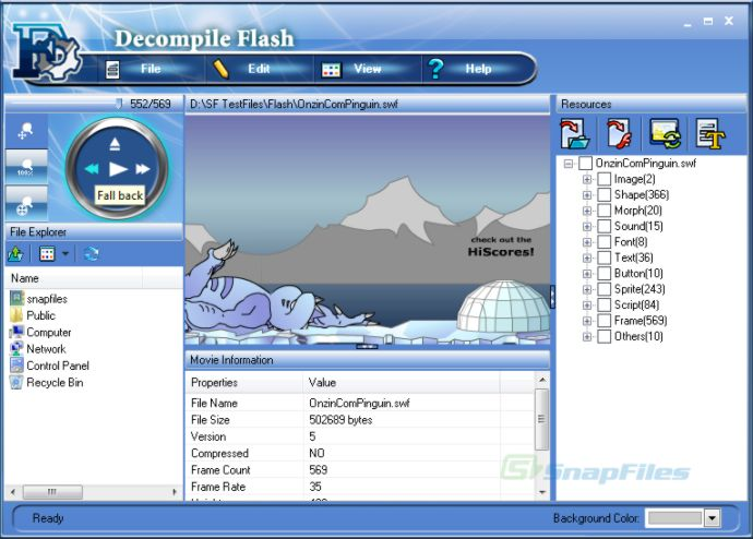 screen capture of Decompile Flash