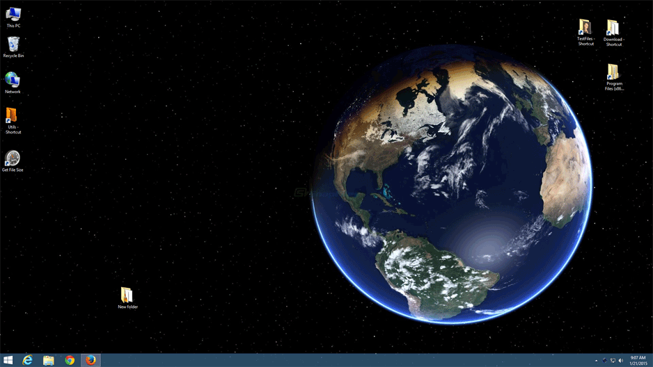 screen capture of Desktop Earth