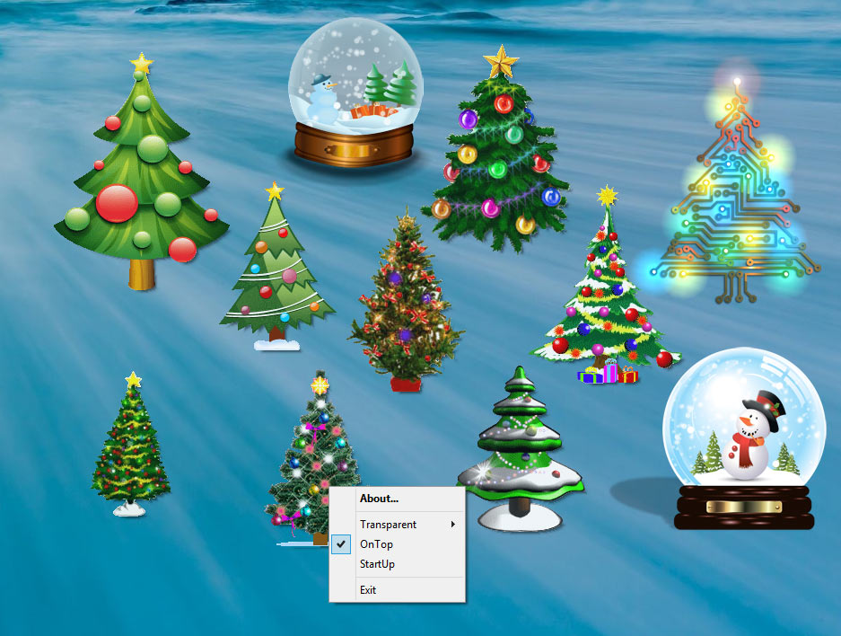 screen capture of Desktop Christmas Trees