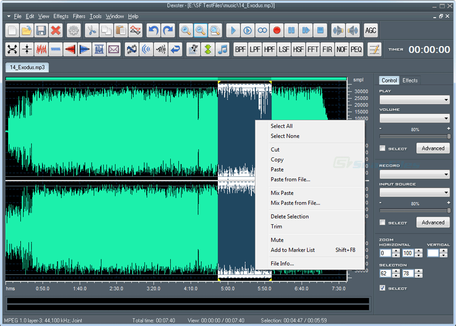 screen capture of Dexster Audio Editor