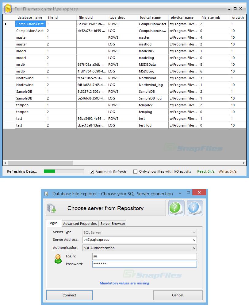 screenshot of Database File Explorer