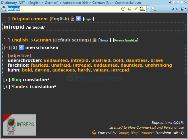 screen capture of Dictionary .NET