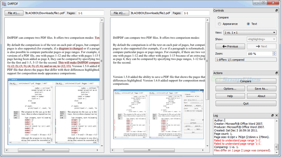 screen capture of DiffPDF