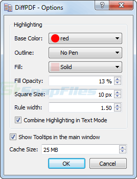 screenshot of DiffPDF