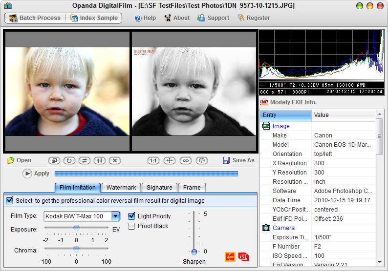 screenshot of Opanda DigitalFilm