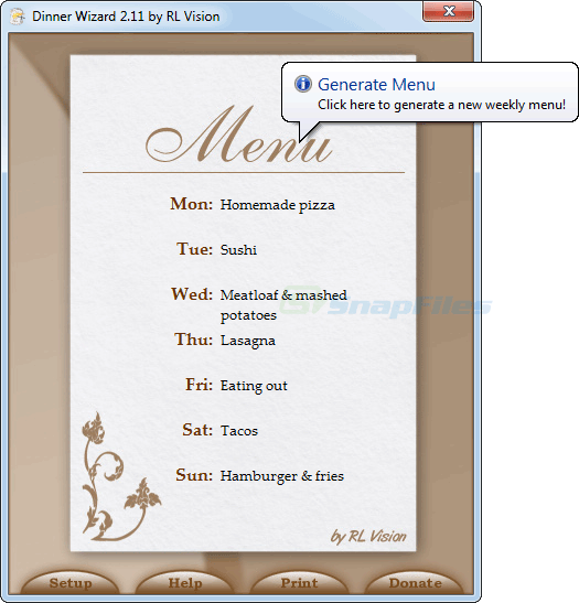 screen capture of DinnerWiz