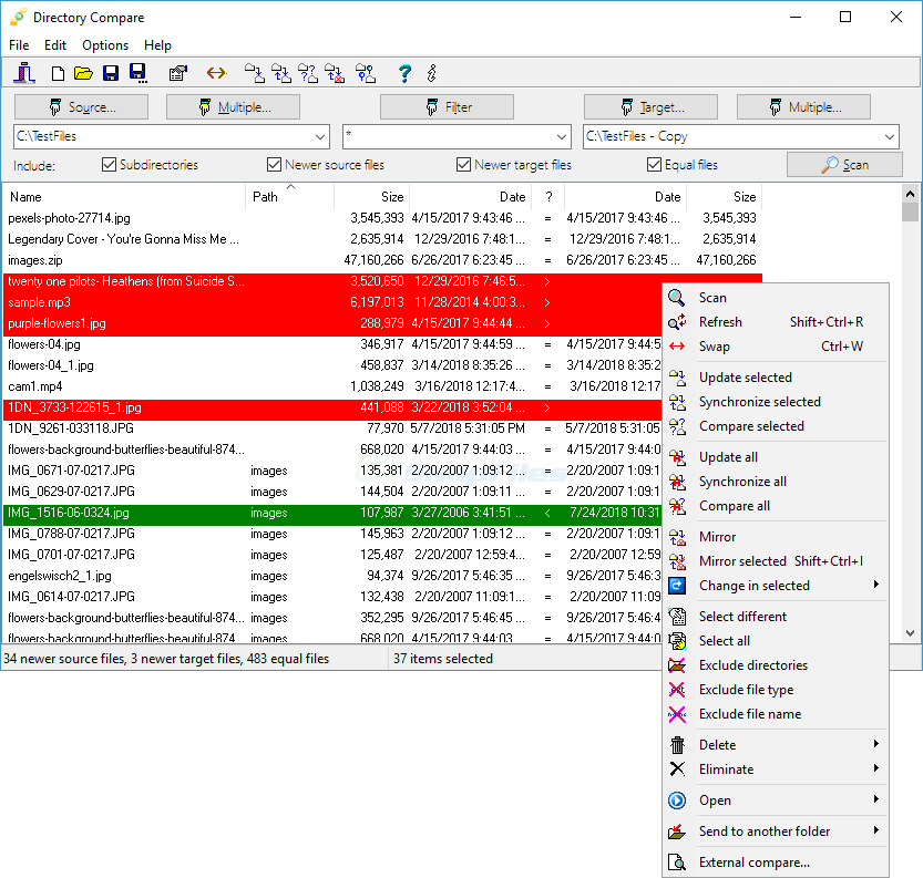 screen capture of Directory Compare
