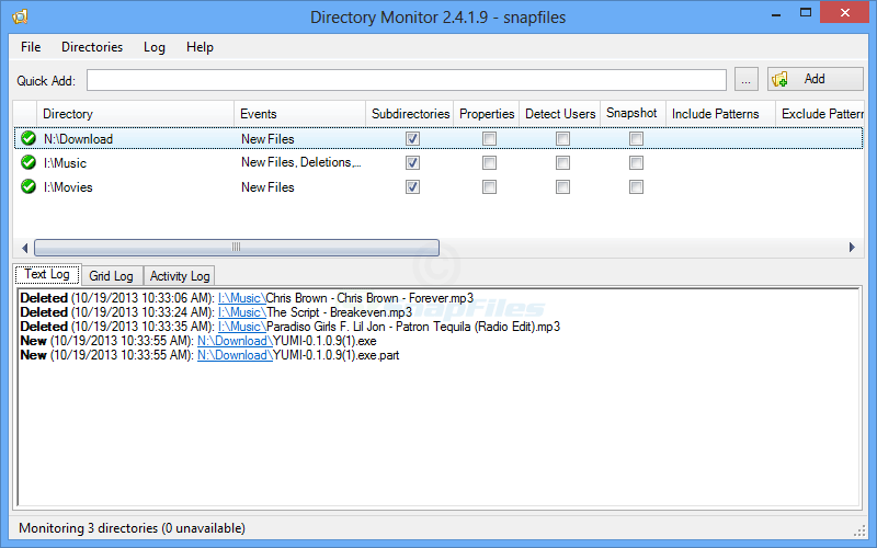 screen capture of Directory Monitor