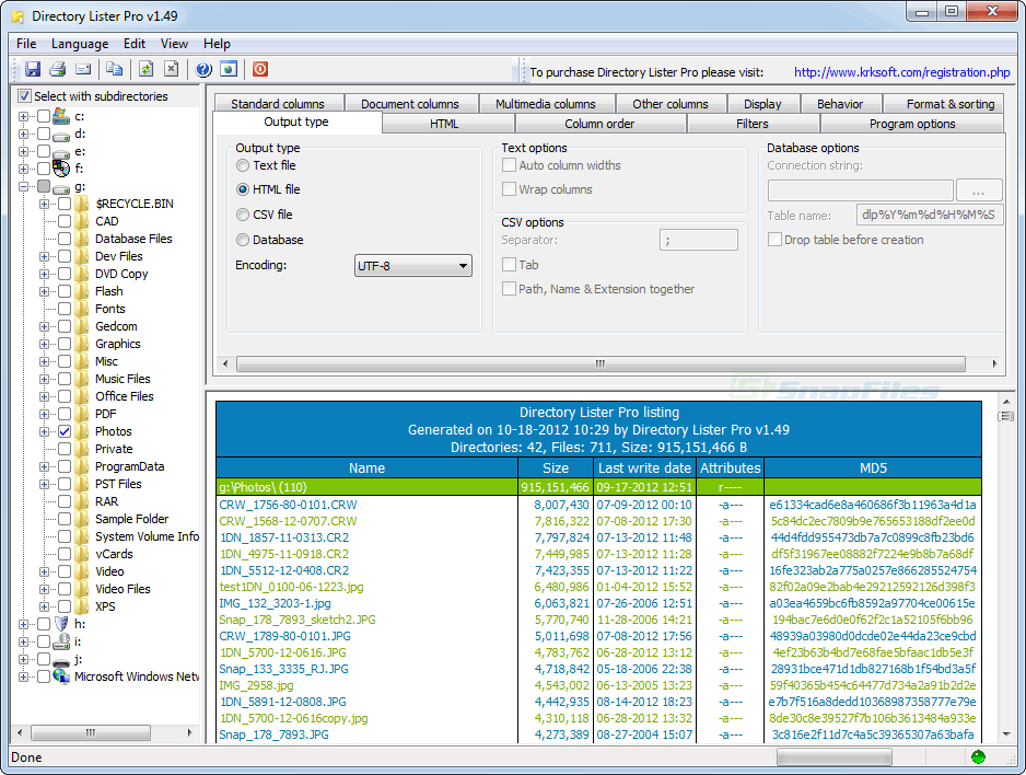 screen capture of Directory Lister Pro