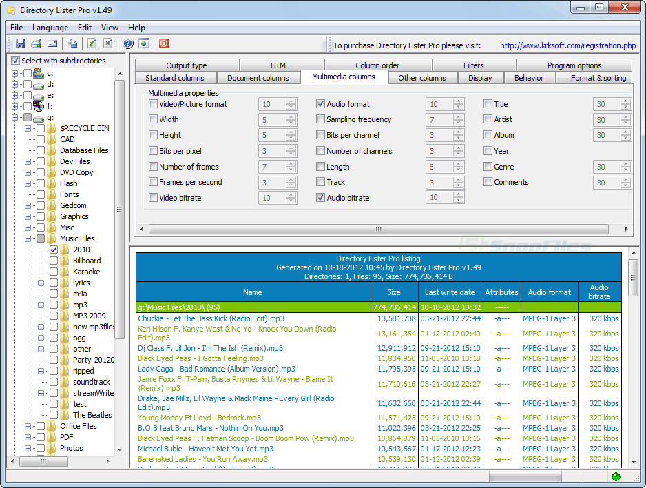 screenshot of Directory Lister Pro