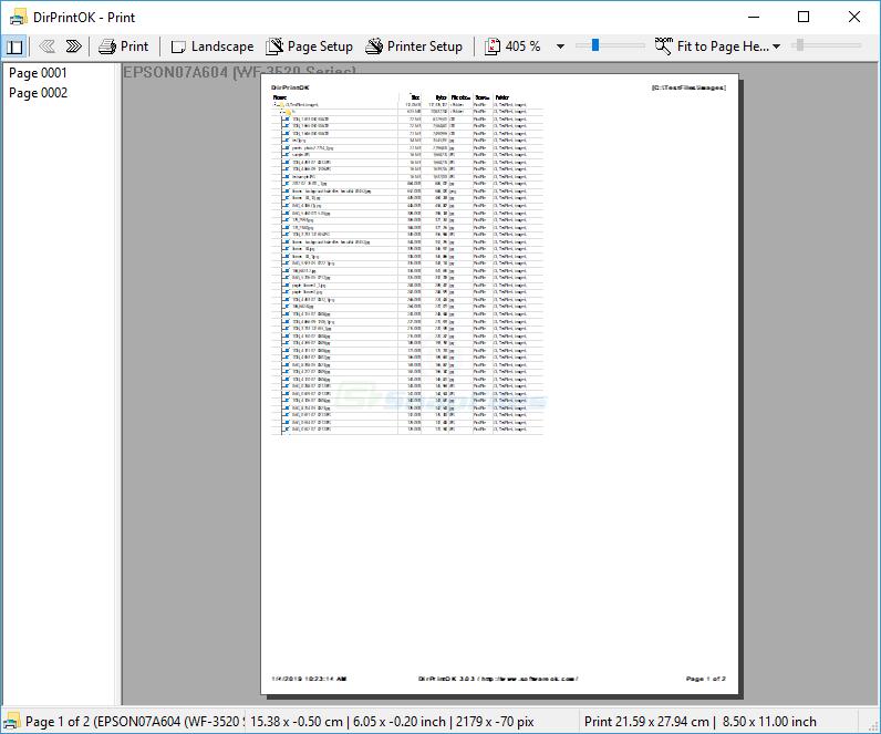 screenshot of DirPrintOK