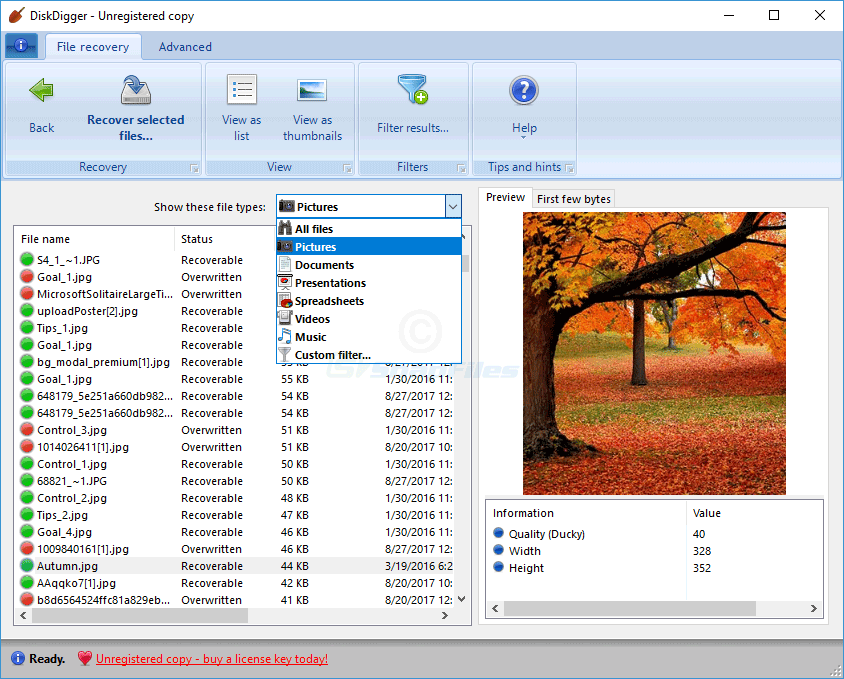 screenshot of DiskDigger
