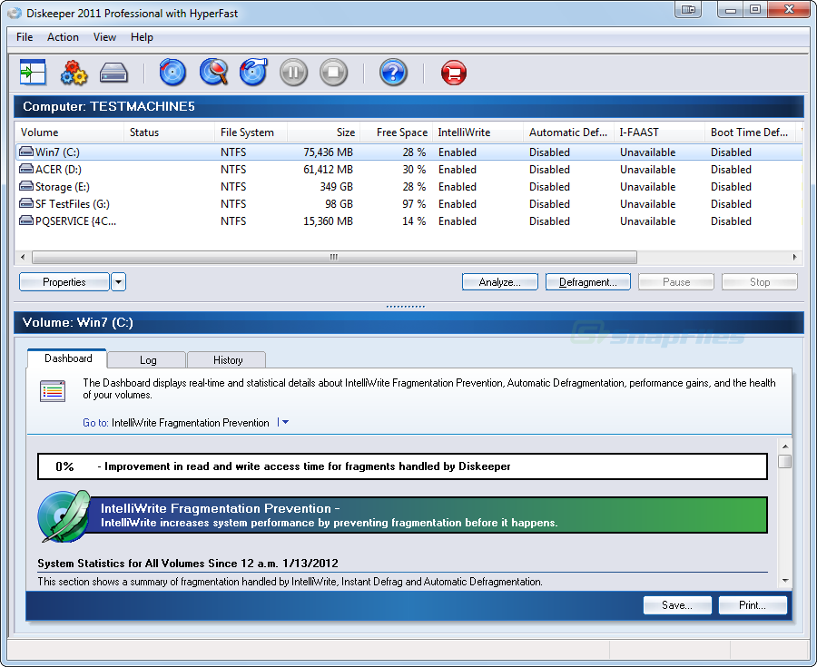 screen capture of Diskeeper Pro