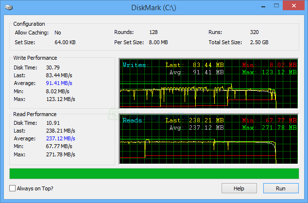 screen capture of DiskMark