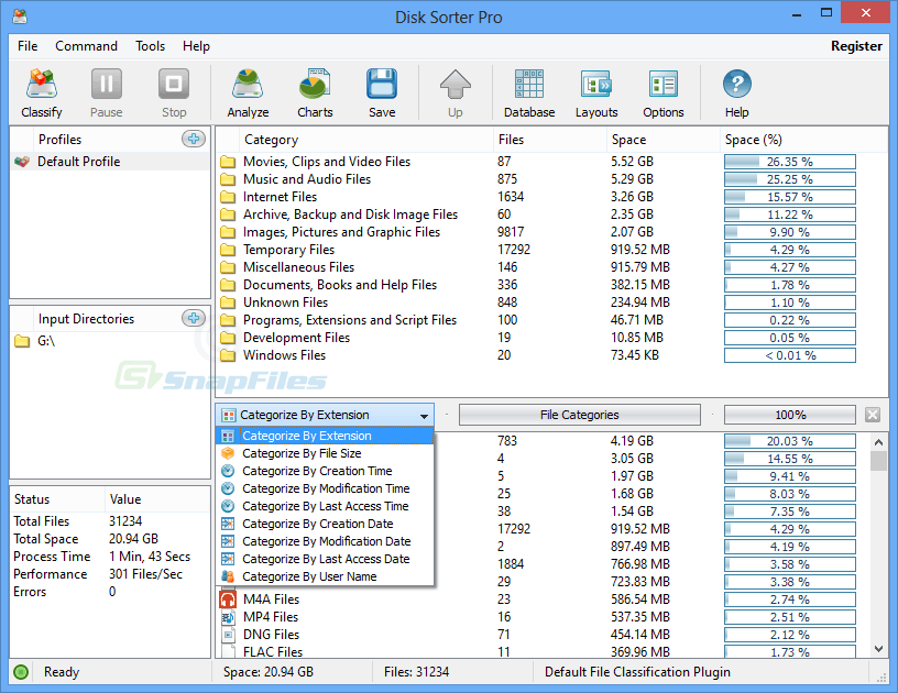 screen capture of DiskSorter Pro