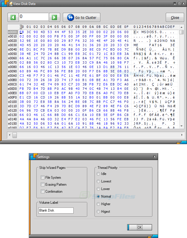 screenshot of Disk Wipe