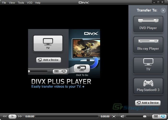 screen capture of DivX for Windows