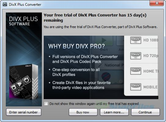 screenshot of DivX for Windows