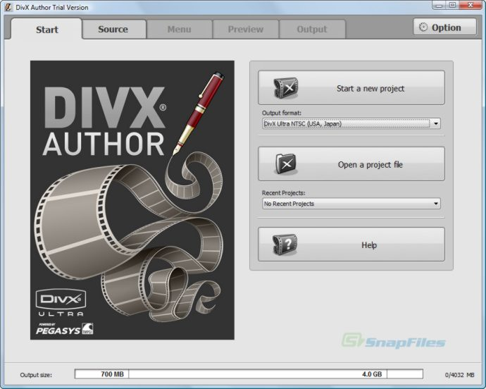 screen capture of DivX Author