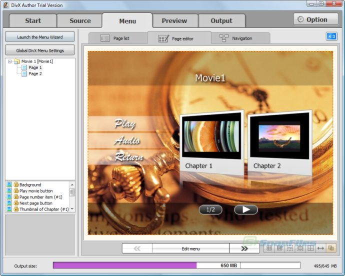 screenshot of DivX Author