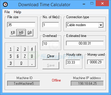 screen capture of Download Time Calculator