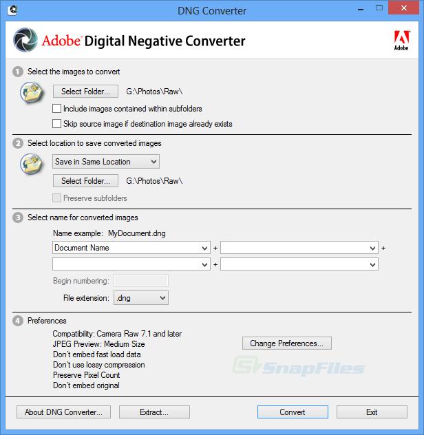 screen capture of Adobe DNG Converter