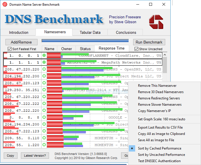 screen capture of DNS Benchmark