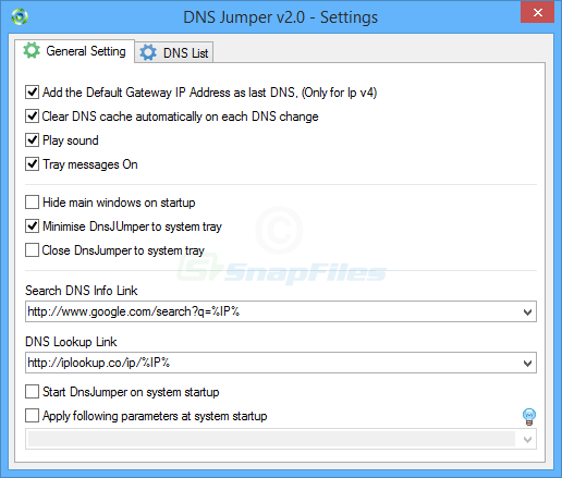 screenshot of DNS Jumper
