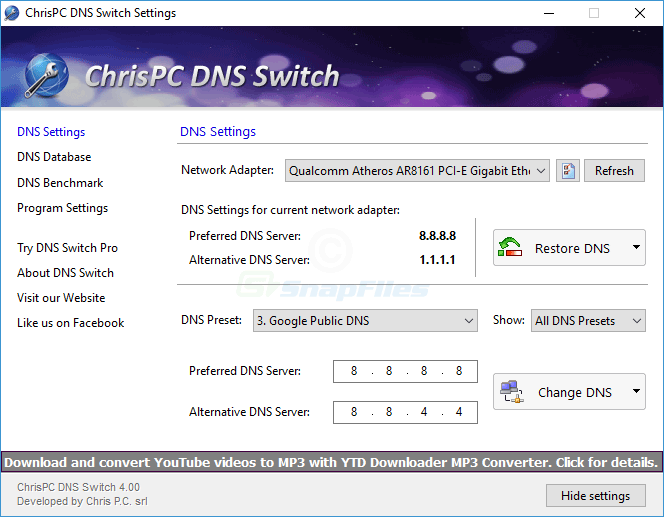 screen capture of ChrisPC DNS Switch