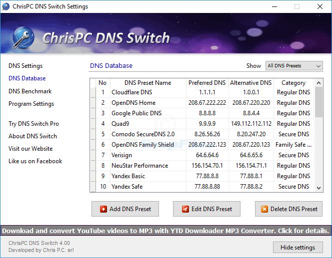 screenshot of ChrisPC DNS Switch