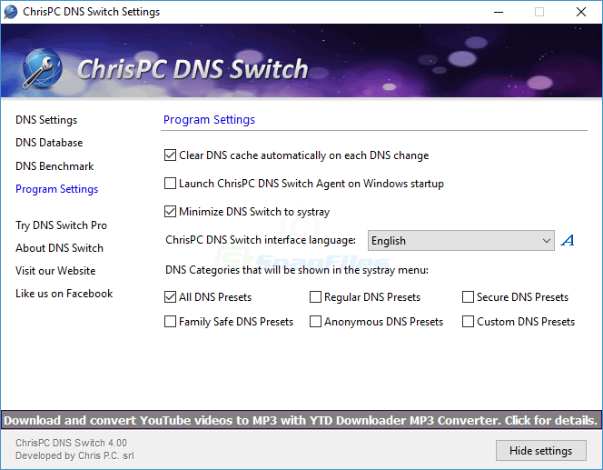 screenshot of ChrisPC DNS Switch