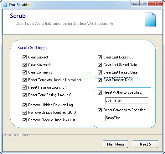 screenshot of Doc Scrubber
