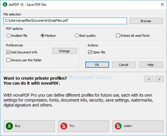 screen capture of doPDF