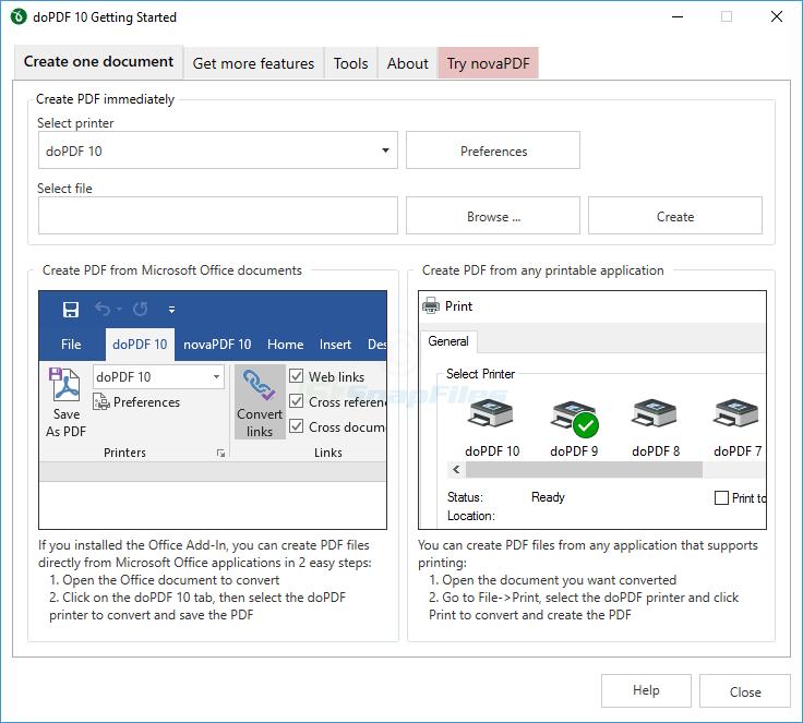 screenshot of doPDF