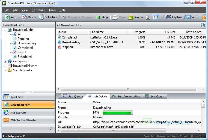 screen capture of DownloadStudio
