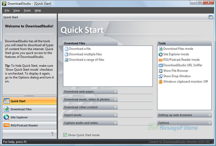 screenshot of DownloadStudio