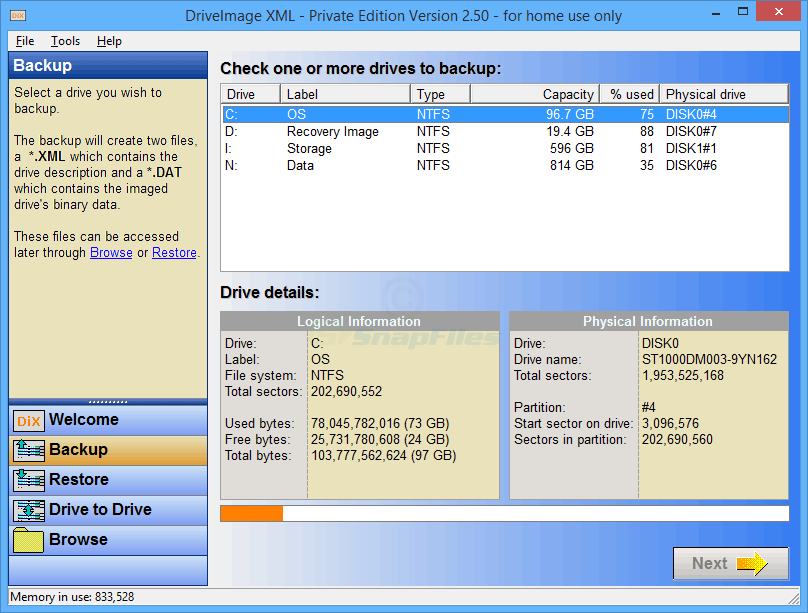 screen capture of DriveImage XML (Private Edition)