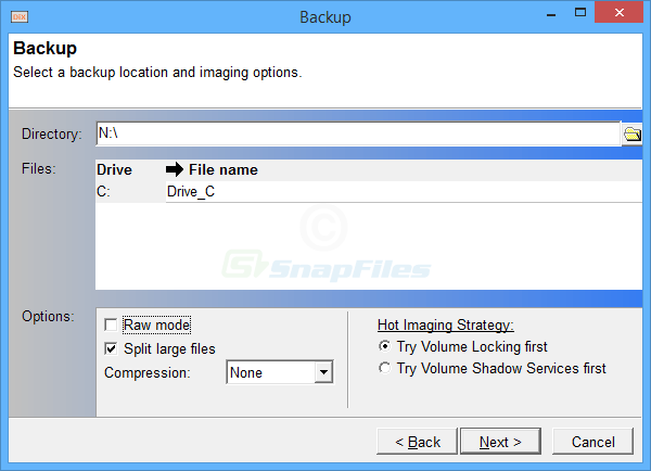 screenshot of DriveImage XML (Private Edition)