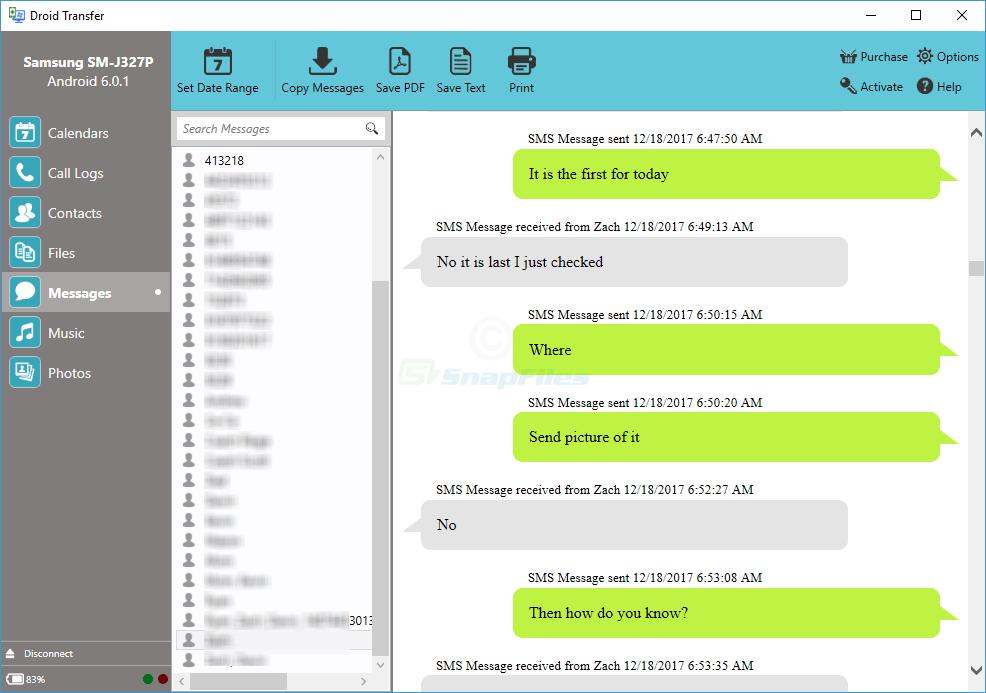 screenshot of Droid Transfer