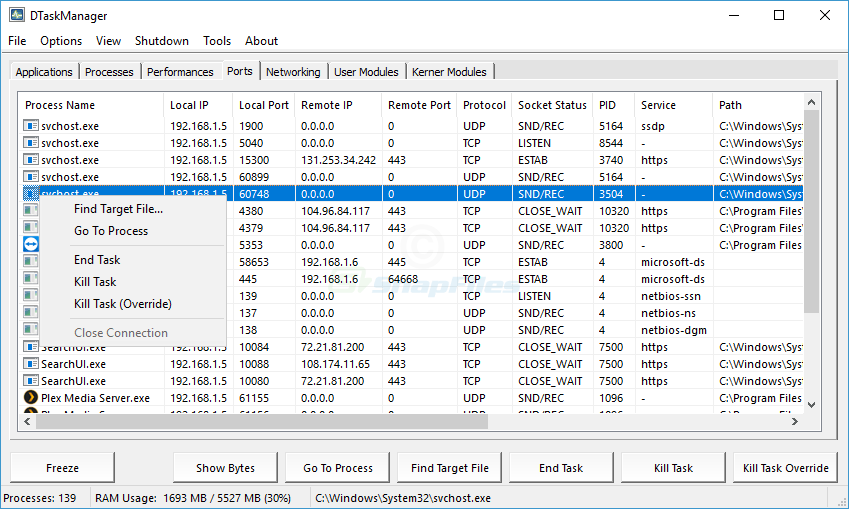 screenshot of DTaskManager