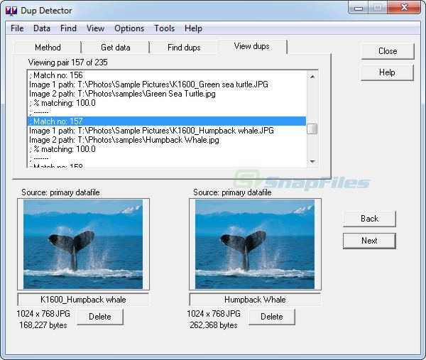 screen capture of DupDetector