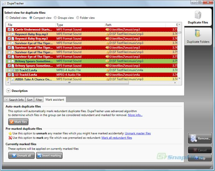 screenshot of DupeTrasher
