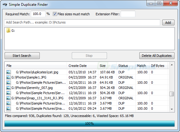 screen capture of Simple Duplicate Finder