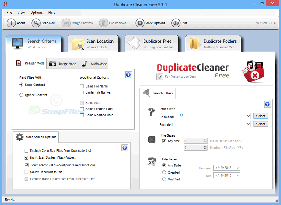 screen capture of Duplicate Cleaner Free