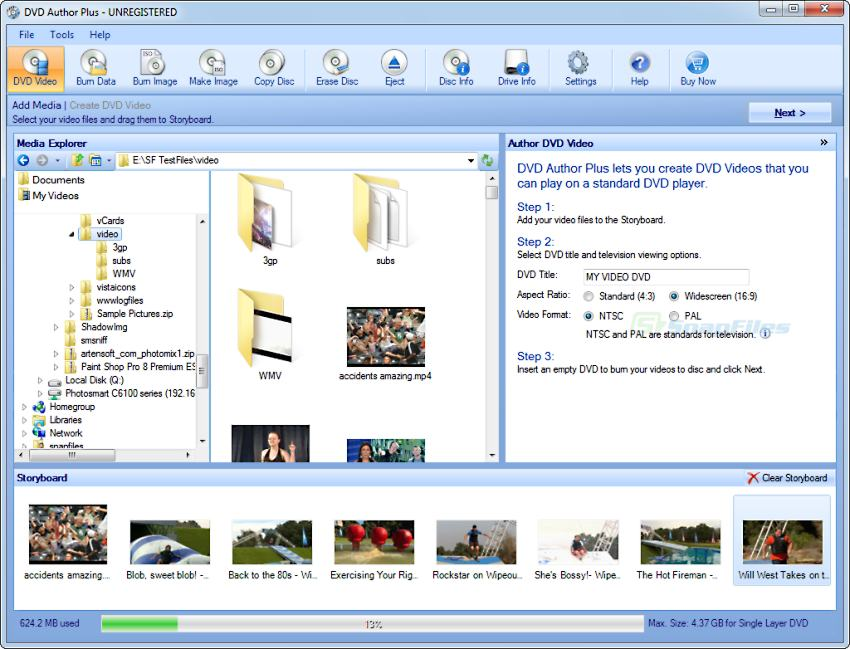 screen capture of DVD Author Plus