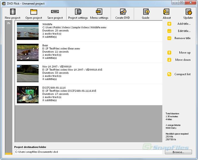 screen capture of DVD Flick