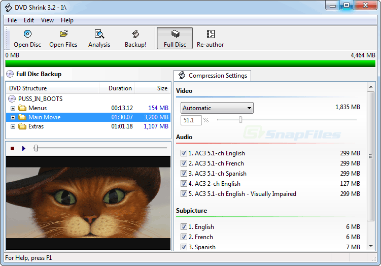 screen capture of DVD Shrink