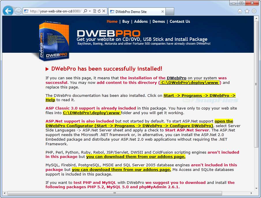 screen capture of DWebPro